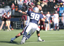 CHRIS BIEN/THE HOYA Senior defensive end Andrew Schaetzke had three tackles for loss in Saturday's 30-13 Senior Day win over Fordham, including 1.5 sacks. His seven total tackles tied him for fourth on the team.