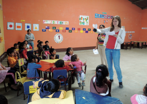 SHEENA KARKAL/THE HOYA Student intern Leah Rusenko (NHS '15) teaches children during a GlobeMed sponsored trip to Guatemala.