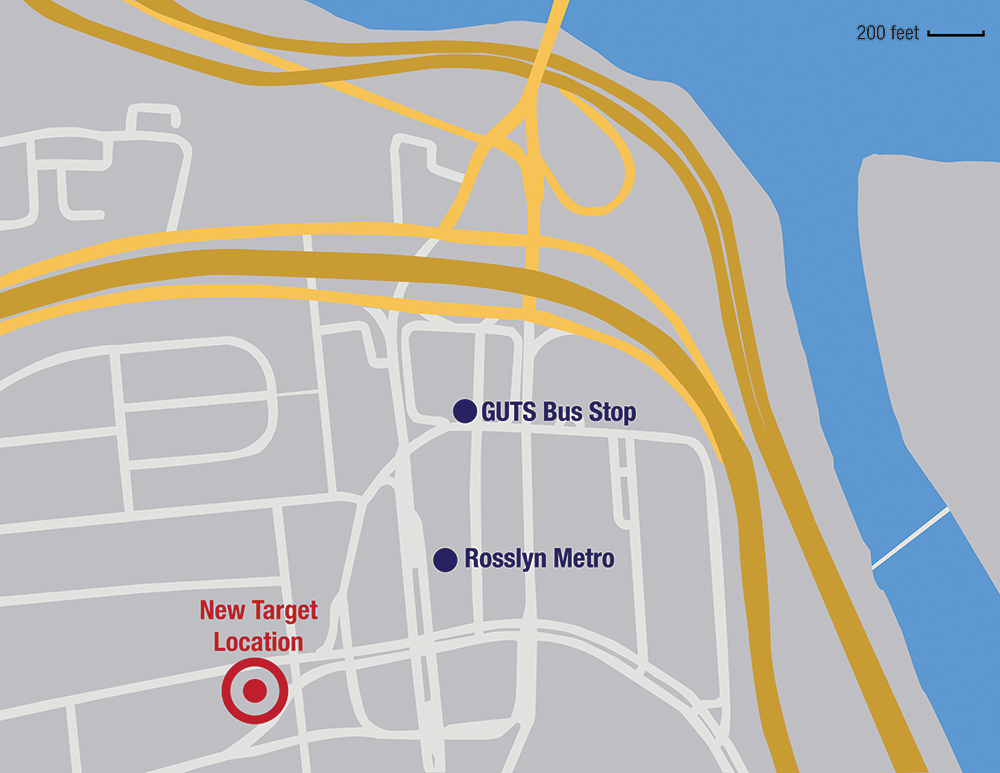 ANDREW WALLENDER/THE HOYA Rosslyn's new TargetExpress will celebrate its grand opening Saturday. The new storefront, located at 1500 Wilson Blvd., is a third of a mile from the Rosslyn Georgetown University Transportation Shuttles stop.