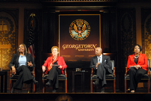 "The Georgetown University Press celebrated the 25th anniversary of the book and film documentary ""Black Georgetown Remembered"" as part of Black History Month celebrations in Gaston Hall."