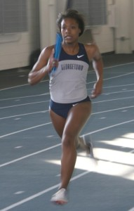 File Photo: DAVE BARAN/THE HOYA Freshman Chelsea Cox finished seventh in the 800m with a time of 2:09.38.