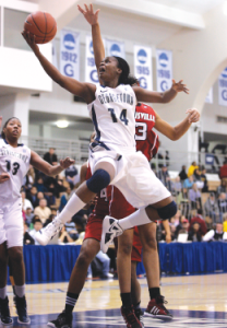 FILE PHOTO: CHRIS BIEN/THE HOYA Junior guard Sugar Rodgers, shown against Louisville, scored 17 points in the win.