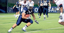 CHRIS BIEN/THE HOYA Sophomore running back Nick Campanella rushed for two touchdowns in the Hoyas' season opener.