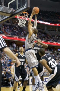 WEB LESLIE/THE HOYA Senior forward Julian Vaughn goes up for a dunk against Providence. He finished the game with a double-double on 14 points and 11 rebounds.