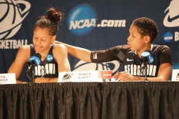 File Photo: Chris Bien/ The Hoya Senior Guard Monica McNutt (right) consoles junior forward Tia McGee after Gergetown's Sweet 16 loss to No.1 Connecticut.