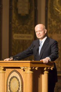 ALEXANDER BROWN/THE HOYA British Foreign Secretary William Hague accepts the 2014 Hillary Rodham Clinton Award for Advancing Women in Peace and Security.