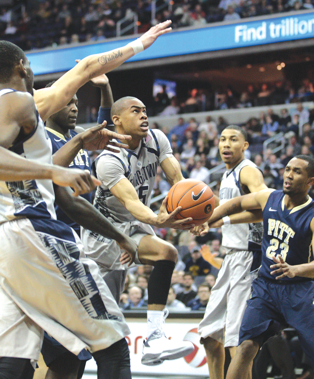 FILE PHOTO: CHRIS BIEN/THE HOYA Junior point guard Markel Starks (5) had 17 points in a game-high 36 minutes Saturday at the Garden.