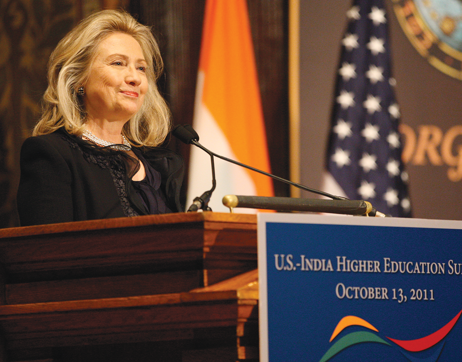Clinton Pushes India Ties, Student Activism