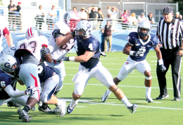 FILE PHOTO: LEONEL DE VELEZ/THE HOYA Senior linebacker Robert McCabe (4) set a Georgetown program record for tackles against Colgate Saturday. He now has 364.