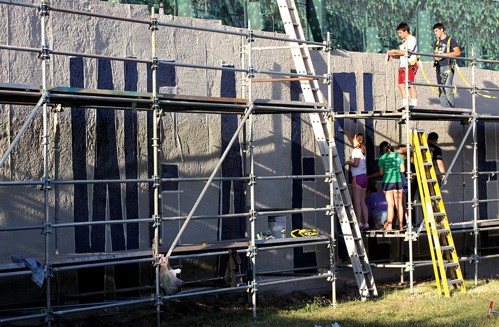 Grandstand Wall Gets Makeover
