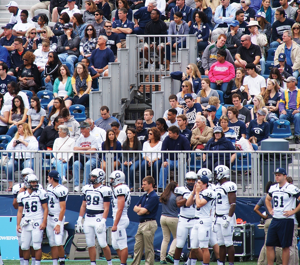 CLAIRE SOISSON FOR THE HOYA. Students and alumni packed the stands for the Homecoming football game only to see the Hoyas suffer a disappointing loss against Princeton.