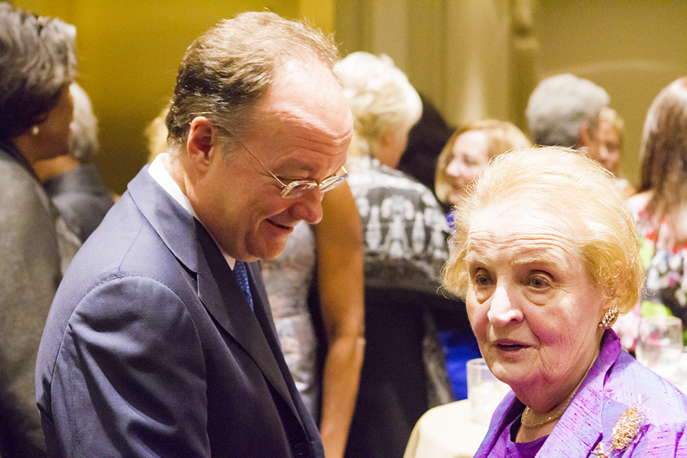 Former Secretary of State Madeleine Albright talks to University President John J. DeGioia at the Institute for Women, Peace and Security's dinner honoring women ambassadors to the United States. ALEXANDER BROWN/THE HOYA