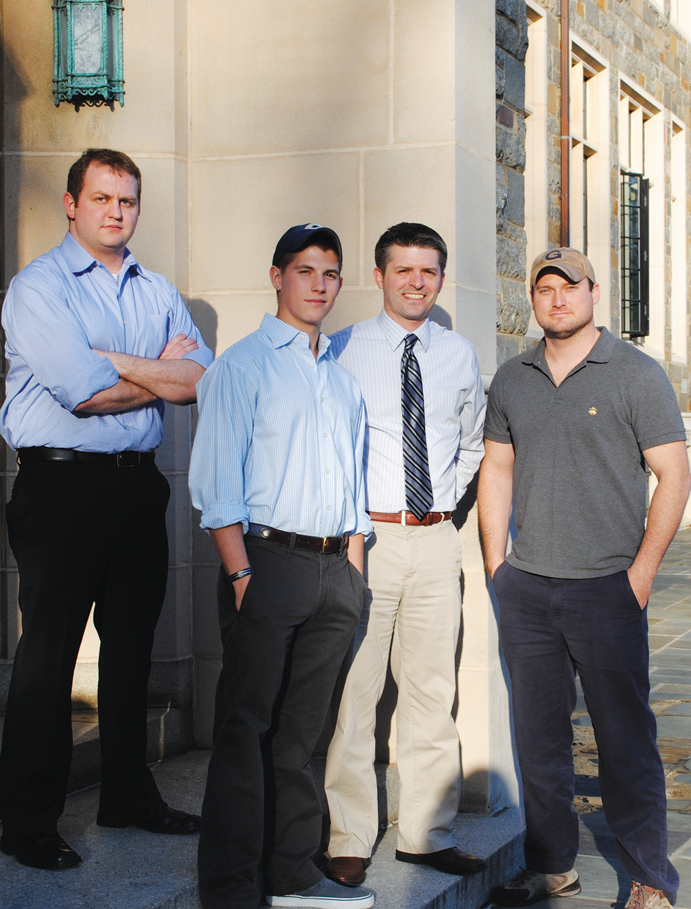 MICHELLE CASSIDY/THE HOYA Alex Horton, T.M. Gibbons-Neff, David Shearman and Colby Howard are working to improve on-campus resources for student veterans.