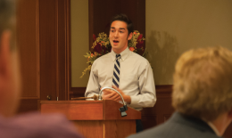 Craig Cassey (COL '15) spoke about town-gown cooperation  Monday. EUGENE ANG FOR THE HOYA