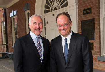 COURTESY GEORGETOWN UNIVERSITY Frank McCourt and John DeGioia first discussed public policy innovation in 2006.
