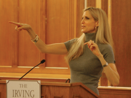 COURTESY JOYCE XI/CONTRIBUTING PHOTOGRAPHER OF YDN Ann Coulter, shown speaking last Tuesday at Yale University, is booked to appear Thursday at Georgetown, sparking debate over the proper use of student funds.