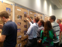 PENNY HUNG/THE HOYA Students leave comments on architectural elements posted by Sasaki Associates.