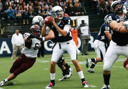 SARI FRANKEL/THE HOYA Junior quarterback Isaiah Kempf (1) threw for 133 yards and a touchdown in the Hoyas' 40-17 win over Colgate Saturday afternoon.