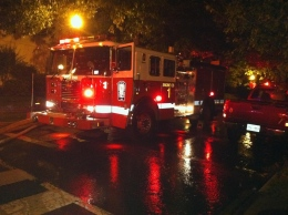 MICHELLE CASSIDY/THE HOYA Fire trucks responded to a fire in Burleith early Sunday morning.