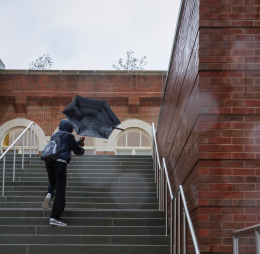 Few were the students who braved the wind and rain thrown by Hurricane Sandy Monday.