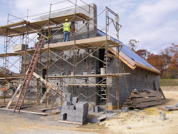 Construction is underway on the chapel wall of the university's new retreat center, which is located in the Blue Ridge Mountains in Clarke County, Va.