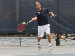 FILE PHOTO: CHRIS GRIVAS/THE HOYA Junior Charlie Caris took his singles match to three sets before play was discontinued when Louisville clinched a 4-0 win over Georgetown.