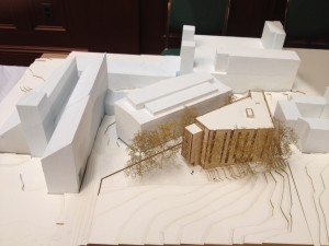 DANNY FUNT/THE HOYA A three-dimensional diagram at the ANC meeting Monday shows how the new building would sit adjacent to Reiss Science Building.