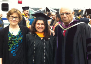 PHOTO COURTESY MAYA CHAUDHURI  Adhip Chaudhuri, right, with his daughter Maya Chaudhuri (SFS '13), center, and Maya's mother Margaret McBride, right. Chaudhuri taught at the university for 34 years before his death in January.