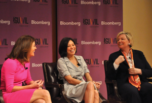 """OLIVIA HEWITT/THE HOYA Journalists Norah O'Donnell, Alex Wagner and Carolyn Ryan talk during one of the summit's panels, """"Media Mavens: Challenges On and Off the Screen."""""""