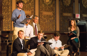 "NATASHA THOMSON/THE HOYA Academy award nominee David Strathairn acted as Jan Karski alongside an ensemble of students in a staged reading of ""Remember This: Walking with Karski"" in Gaston Hall on Thursday evening."
