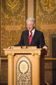 DANIEL SMITH/THE HOYA Former President Bill Clinton (SFS '68) gave the second lecture in his Georgetown series in Gaston Hall on Wednesday.