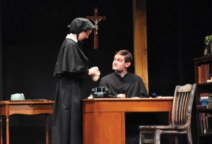 "OLIVIA HEWITT FOR THE HOYA Maddie Kelley (COL '16) and Addison  Williams (COL '14) pulled the audience into a sinister web of suspicion in ""Doubt: A Parable."""