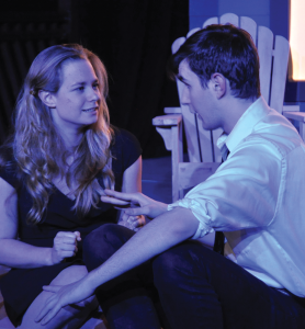 "OLIVIA HEWITT FOR THE HOYA Katie Bellamy Marshall (COL '15) and Sean Craig (COL '16) in a scene from ""Proof."""
