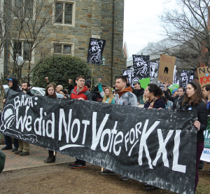 KRISTEN SKILLMAN/THE HOYA A march to the White House to protest the XL Keystone Pipeline under consideration by President Obama began in Healy Circle.