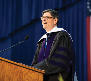 ALEXANDER BROWN/THE HOYA Treasury Secretary Jacob Lew (LAW '83) addressed graduates of the McCourt School of Public Policy in McDonough Arena on Thursday.