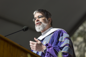 ALEXANDER BROWN/THE HOYA Br. Guy Consolmagno, S.J., addressed the Georgetown College Class of 2014 on Healy Lawn this morning.