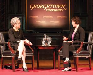 File Photo: LEONEL DE VELEZ Sandra Fluke (LAW '12) spoke with professor Judy Feder in a lecture hosted in Gaston Hall in April 2012.