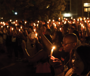 MICHELLE XU/THE HOYA A student-led vigil began a week of prayer and reflection among Georgetown students and faculty on the ongoing crisis in Ferguson, Mo.