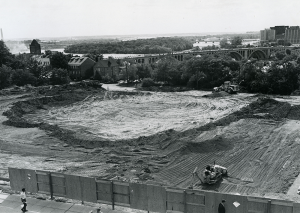COURTESY GEORGETOWN UNIVERSITY ARCHIVES The site for Lauinger Library is cleared in September 1967.