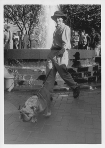 THE HOYA ARCHIVES Jack the Bulldog being walked by Dahlgren Fountain