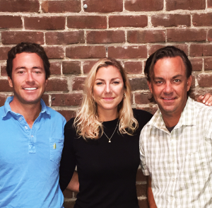 COURTESY THATCHER SPRING  From left, founder Thatcher Spring (COL '04), Bridget Sauer and Mike Schell comprise the team of GearLaunch, a startup.