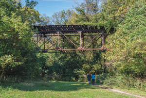 NATE MOULTON FOR THE HOYA The restored Foundry Branch Bridge, which once carried trolleys through Georgetown, would connect the Georgetown and Palisades neighborhoods with a running and biking trail.