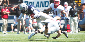 FILE PHOTO: JULIA HENNRIKUS/THE HOYA Sophomore tight end Matthew Buckman hauled in three passes for 30 yards, including a touchdown. He has 259 yards catching on the year.