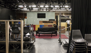"""MICHELLE XU/THE HOYA Work is under way for the set of Nomadic Theatre's production of """"boom,"""" which will open in Walsh Black Box Theatre on Oct. 30. The play is  being produced by Suzanne Coles (COL '17) and has been put together by the hard work and dedication of a student production team."""