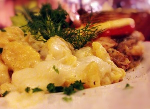 YIWEN HU/THE HOYA Old Europe offers hearty, authentic dishes such as delicious cheese spatzel.