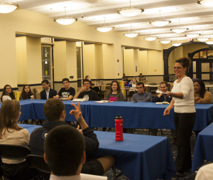MICHELLE XU/THE HOYA Students expressed concerns about meal plans at a forum on Thursday.