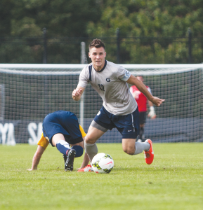 FILE PHOTO: JULIA HENNRIKUS/ THE HOYA Junior defender and co-captain Keegan Rosenberry has featured in a defense that has averaged just 0.60 goals allowed per game.