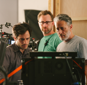 "COURTESY GEORGETOWN UNIVERSITY  Gael García Bernal behind the scenes of ""Rosewater"" with director Jon Stewart."