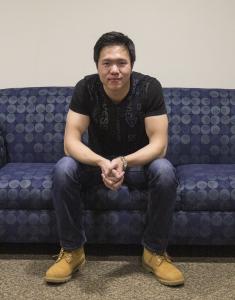 "MICHELLE XU/THE HOYA Yatpang Cheung (MSB '17) spent over 200 hours coding his new app ""Blurtalk."""