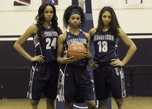 JULIA HENNRIKUS/THE HOYA Left to right: Sophomores Faith Woodard, co-captain Tyshell King and Jade Martin form the backbone of a young Hoyas team. All three averaged double-digit minutes per game last season.